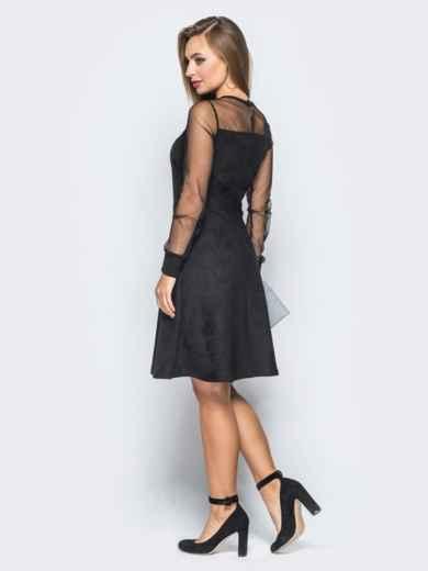 Замшевое платье черного цвета с функциональной молнией - 18227, фото 3 – интернет-магазин Dressa