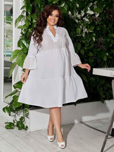 Белое платье батал со вставками из прошвы 49069, фото 1