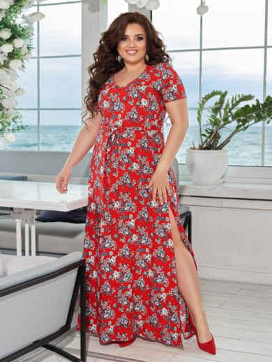 Длинное платье батал с цветочным принтом и разрезами по бокам красное 49064, фото 1