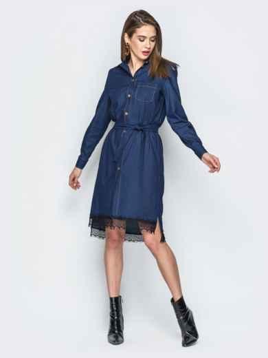 Джинсовое платье-рубашка тёмно-синего цвета - 18485, фото 2 – интернет-магазин Dressa