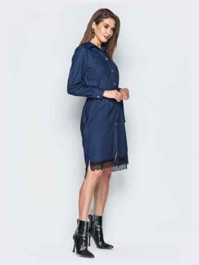 Джинсовое платье-рубашка тёмно-синего цвета - 18485, фото 3 – интернет-магазин Dressa