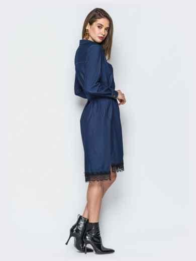 Джинсовое платье-рубашка тёмно-синего цвета - 18485, фото 4 – интернет-магазин Dressa