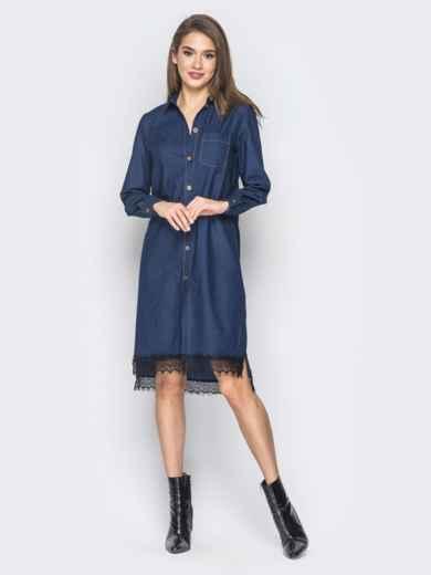 Джинсовое платье-рубашка тёмно-синего цвета - 18485, фото 5 – интернет-магазин Dressa