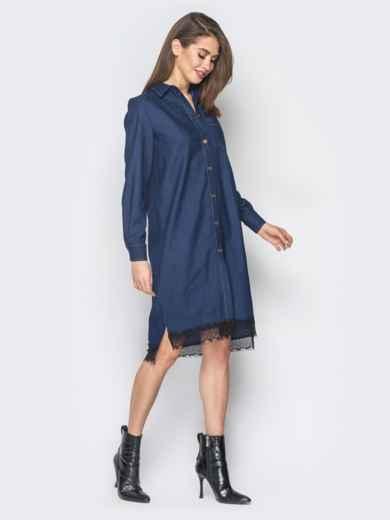 Джинсовое платье-рубашка тёмно-синего цвета - 18485, фото 6 – интернет-магазин Dressa