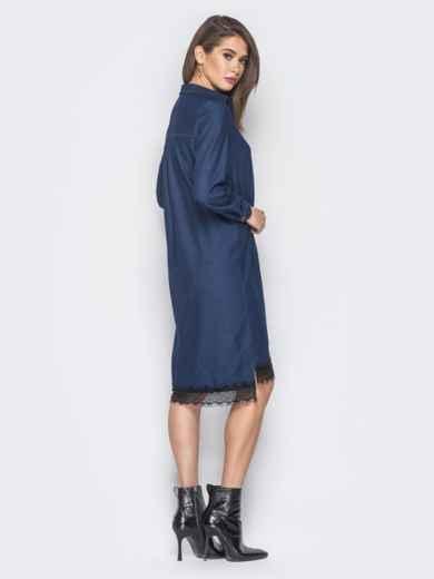 Джинсовое платье-рубашка тёмно-синего цвета - 18485, фото 7 – интернет-магазин Dressa
