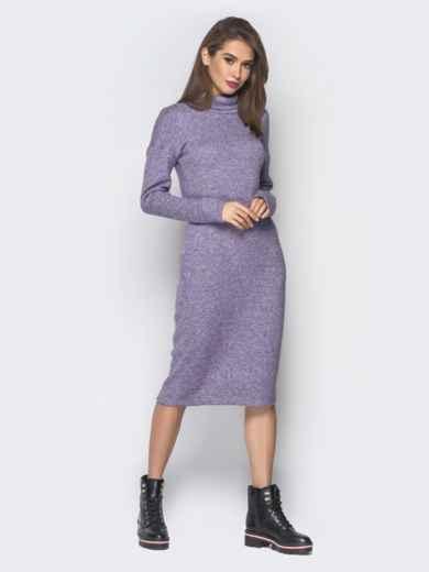 Фиолетовое платье с карманами и воротником-хомут 18685, фото 1