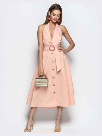 """Хлопковое платье пудрового цвета с вырезом """"петля"""" 22109, фото 3"""