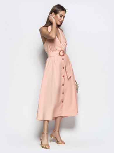 """Хлопковое платье пудрового цвета с вырезом """"петля"""" 22109, фото 4"""