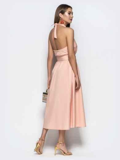"""Хлопковое платье пудрового цвета с вырезом """"петля"""" 22109, фото 5"""