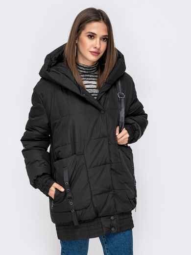 Куртка на молнии с глубоким капюшоном чёрная 41408, фото 1