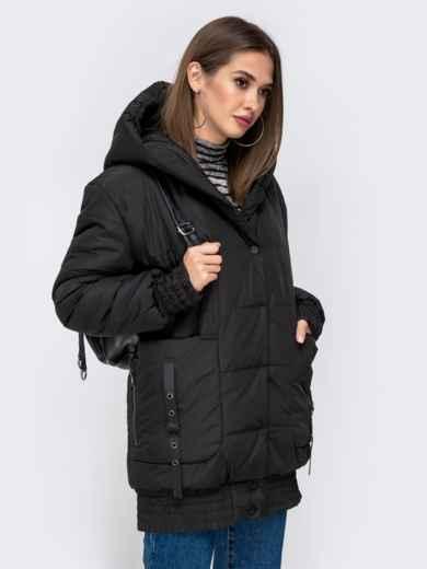 Куртка на молнии с глубоким капюшоном чёрная 41408, фото 2