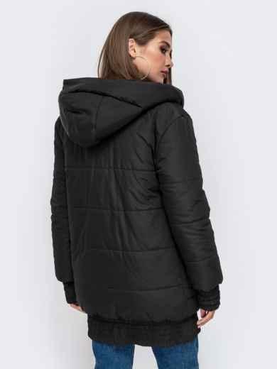 Куртка на молнии с глубоким капюшоном чёрная 41408, фото 3