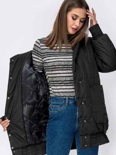 Куртка на молнии с глубоким капюшоном чёрная 41408, фото 4
