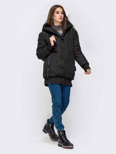 Куртка на молнии с глубоким капюшоном чёрная 41408, фото 5