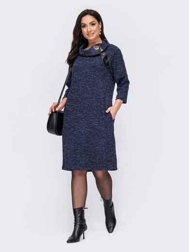 Платье батал с воротником-хомут на кнопке темно-синее 52709, фото 1