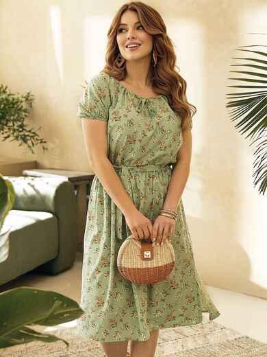 Платье большого размера с коротким рукавом зеленое 53728, фото 1