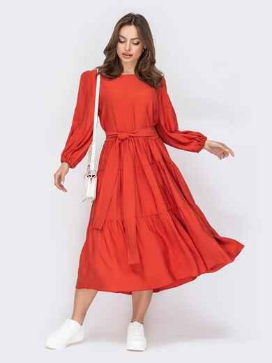 Платье из софта терракотового цвета с юбкой-клеш 53510, фото 1