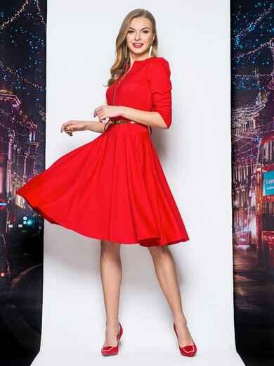 Платье с расклешенной юбкой и функциональной молнией красное - 18111, фото 1 – интернет-магазин Dressa