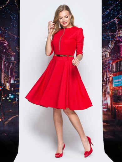 Платье с расклешенной юбкой и функциональной молнией красное - 18111, фото 2 – интернет-магазин Dressa