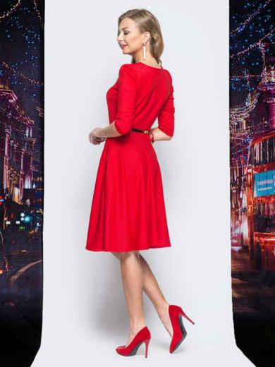 Платье с расклешенной юбкой и функциональной молнией красное 18111, фото 3