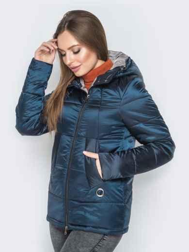 Синяя куртка на молнии со вшитым капюшоном - 20267, фото 2 – интернет-магазин Dressa