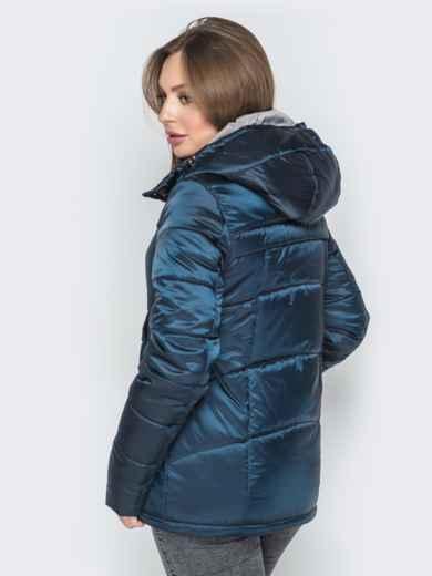 Синяя куртка на молнии со вшитым капюшоном - 20267, фото 3 – интернет-магазин Dressa