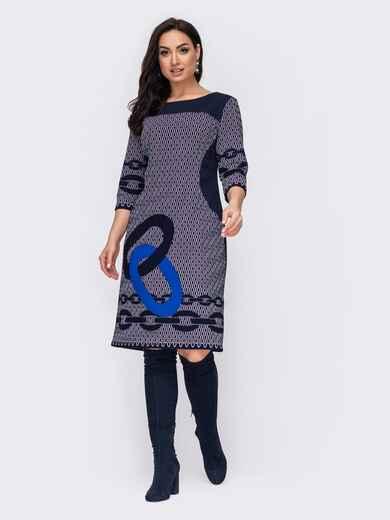 Темно-синее платье батал приталенного кроя с принтом 52711, фото 1