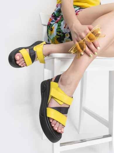 Желтые босоножки из натуральной кожи на платформе - 39607, фото 1 – интернет-магазин Dressa