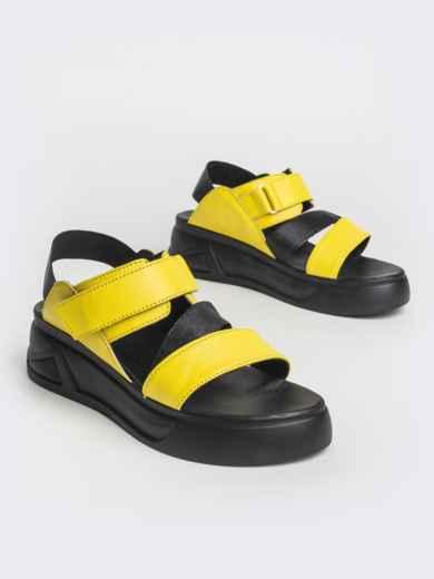 Желтые босоножки из натуральной кожи на платформе - 39607, фото 2 – интернет-магазин Dressa