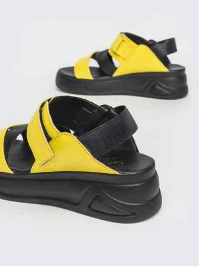 Желтые босоножки из натуральной кожи на платформе - 39607, фото 3 – интернет-магазин Dressa