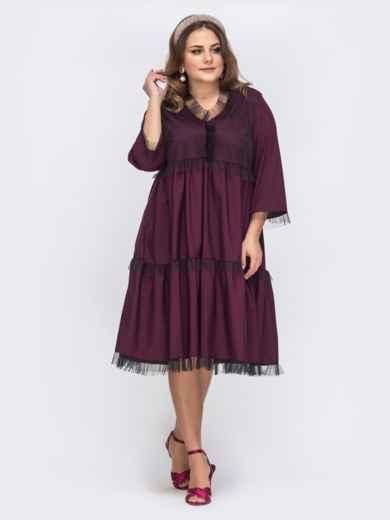 Бордовое платье батал свободного кроя с кружевом 43791, фото 1