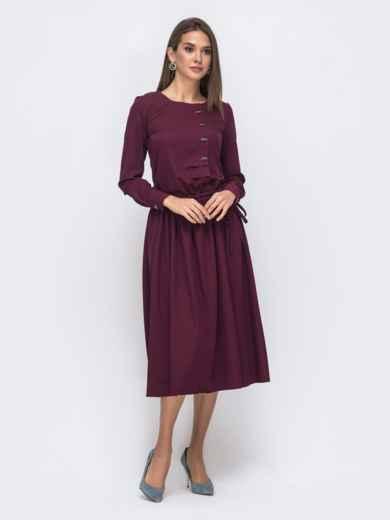 Бордовое платье с кулиской по талии и расклешенной юбкой 41495, фото 2