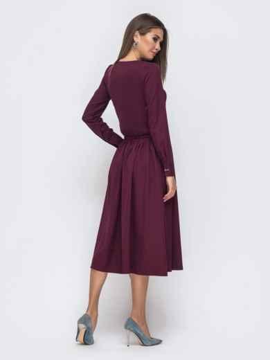 Бордовое платье с кулиской по талии и расклешенной юбкой 41495, фото 3