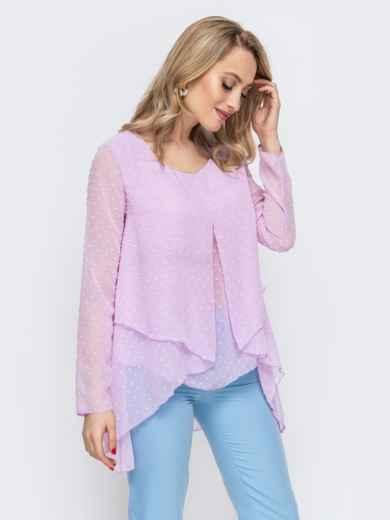 Фиолетовая блузка свободного кроя 45525, фото 1