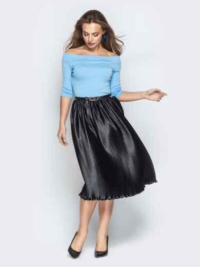 """Голубое платье с вырезом горловины """"анжелика"""" и юбкой-плиссе - 21040, фото 2 – интернет-магазин Dressa"""