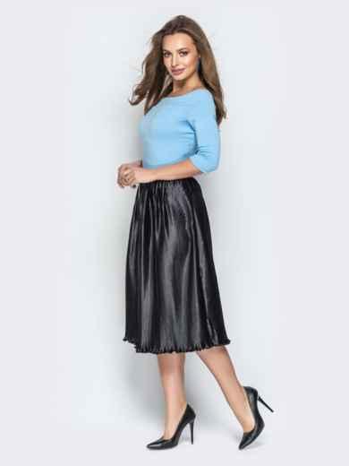 """Голубое платье с вырезом горловины """"анжелика"""" и юбкой-плиссе - 21040, фото 3 – интернет-магазин Dressa"""