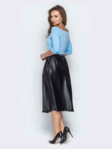 """Голубое платье с вырезом горловины """"анжелика"""" и юбкой-плиссе - 21040, фото 4 – интернет-магазин Dressa"""