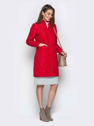 Красная куртка с комбинированной отстрочкой и карманами - 20324, фото 2 – интернет-магазин Dressa