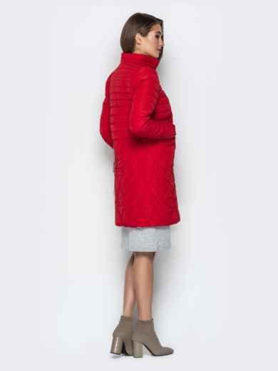 Красная куртка с комбинированной отстрочкой и карманами - 20324, фото 3 – интернет-магазин Dressa