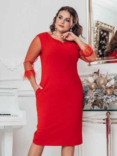 Красное платье батал с рукавами из сетки 43784, фото 1