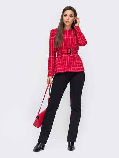 Красный костюм из кофты в клетку с брюками на флисе 50843, фото 1