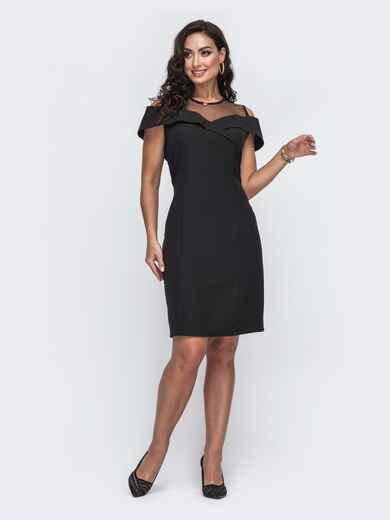 Приталенное платье батал с фатиновой кокеткой чёрное 50010, фото 1