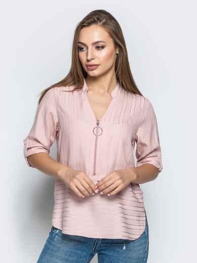 Пудровая блузка в полоску со шлевками на рукавах - 22077, фото 1 – интернет-магазин Dressa