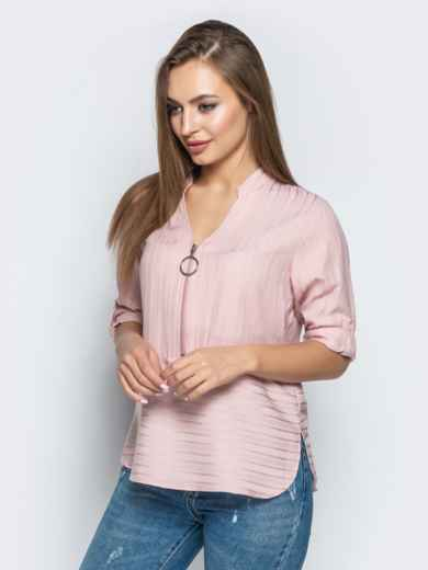 Пудровая блузка в полоску со шлевками на рукавах - 22077, фото 2 – интернет-магазин Dressa