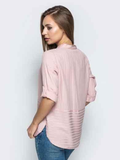 Пудровая блузка в полоску со шлевками на рукавах - 22077, фото 3 – интернет-магазин Dressa