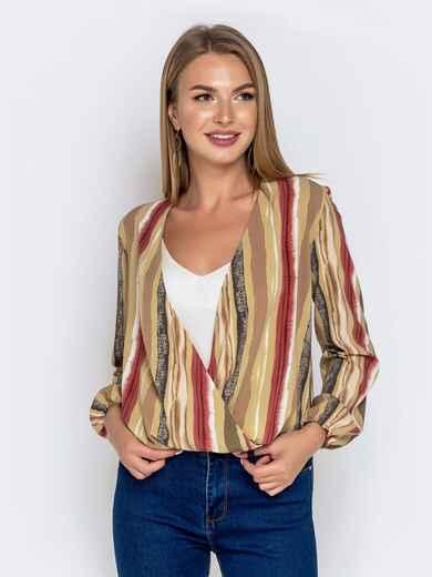Свободная блузка с принтом хаки - 40794, фото 1 – интернет-магазин Dressa