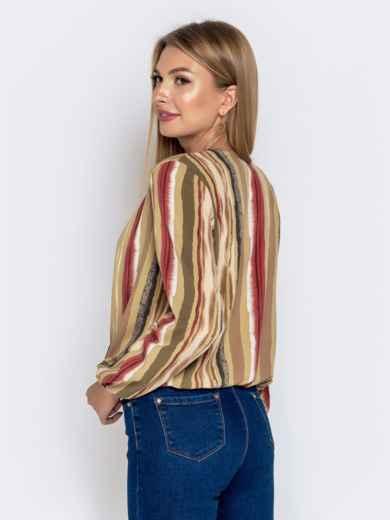 Свободная блузка с принтом хаки - 40794, фото 2 – интернет-магазин Dressa