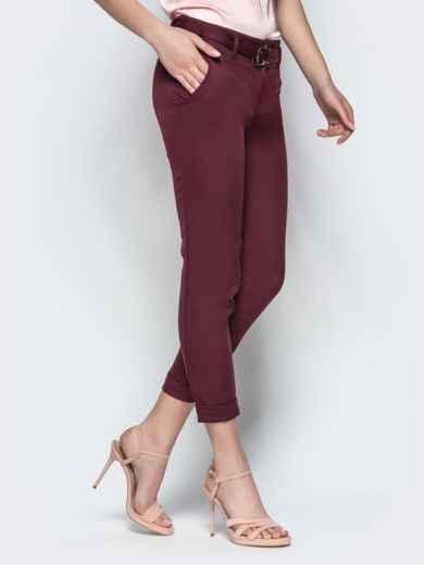 Укороченные брюки с поясом бордовые - 21858, фото 2 – интернет-магазин Dressa
