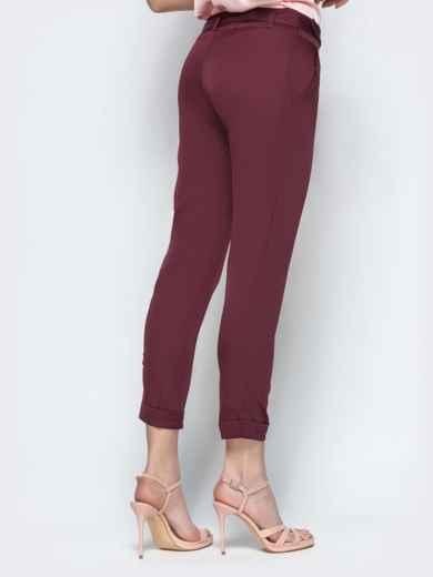 Укороченные брюки с поясом бордовые - 21858, фото 3 – интернет-магазин Dressa