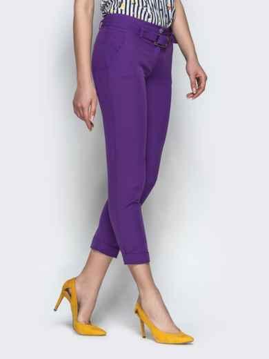 Укороченные брюки с поясом фиолетовые 21859, фото 2